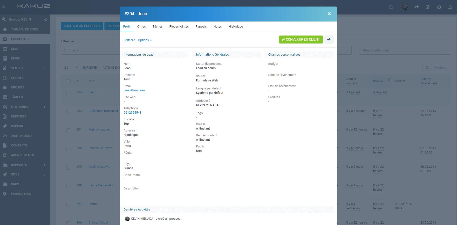 Template focus_keyword} - Fiche client - Startup Crm